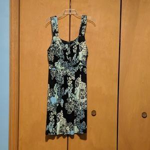 Flowered dress, black and pastel